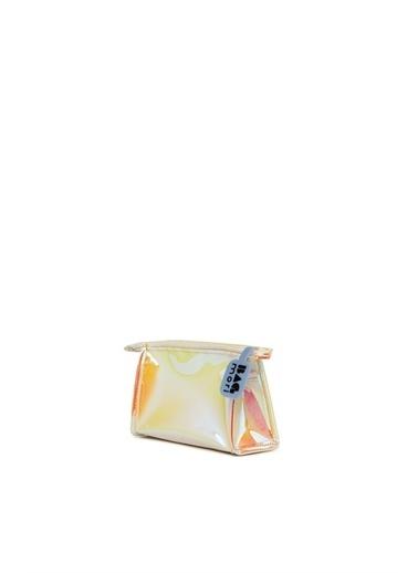 Bagmori  Kadın Hologram Fermuarlı Makyaj Çantası M000006245 Sarı